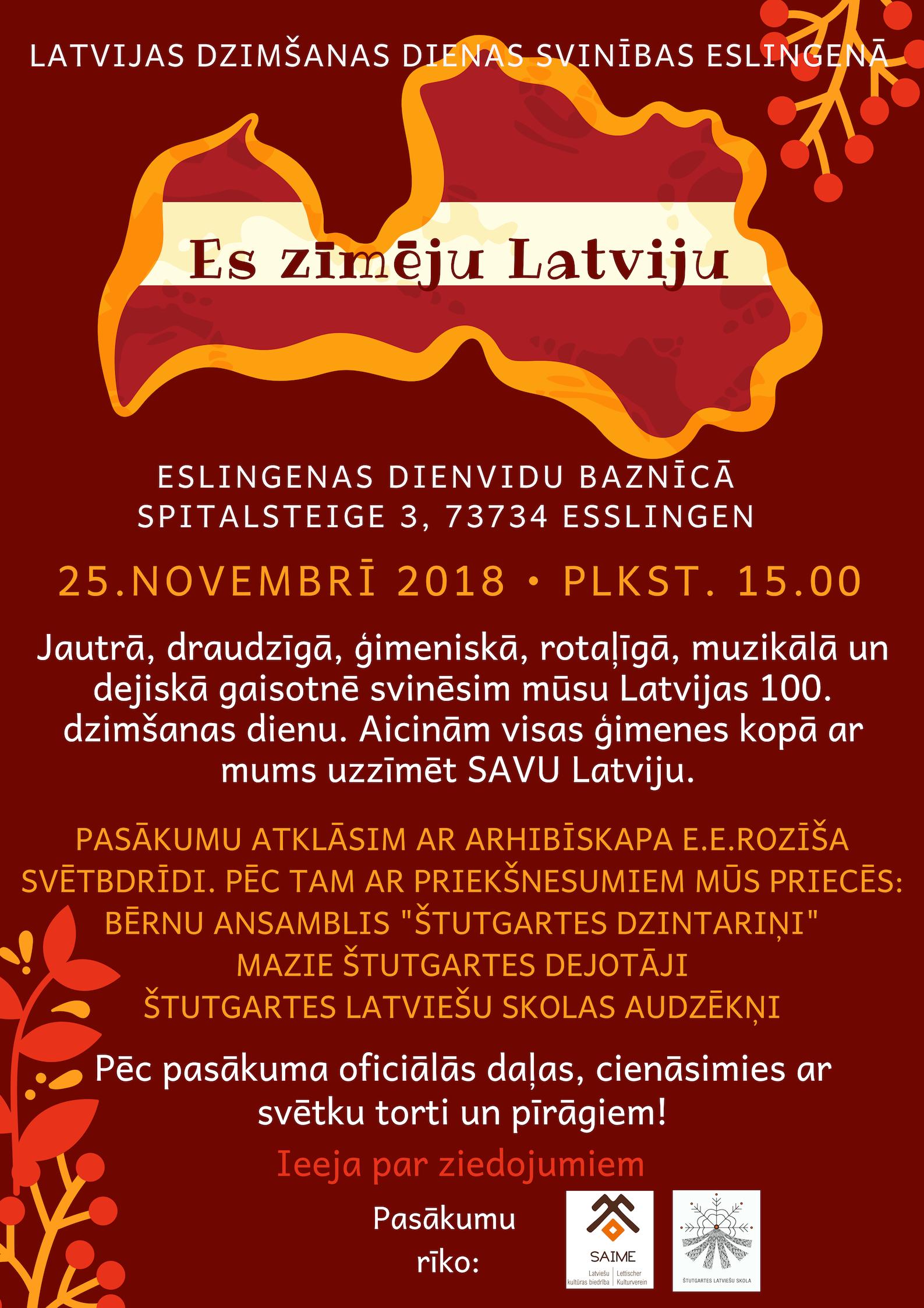 Latvijas dzimšanas dienas svinības Eslingenā